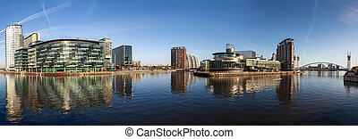 panorama quays - Panoramic view of Salford Quays Manchester,...
