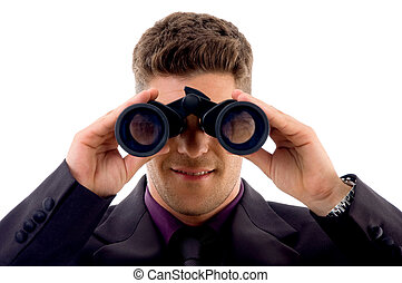 young lawyer viewing through binoculars
