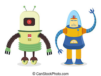retro robots - set of two retro robots