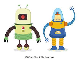retro robots - set of two retro robots