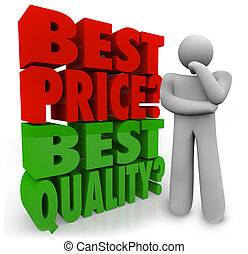 Buyer Person Thinking Best Price Vs Quality Choosing...