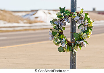 Road Wreath - Memorial Wreath of Flowers for Someone who...