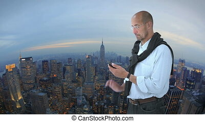 Man in front of New York