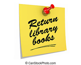 Return Library Books White Background - A note pinned to a...