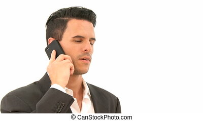 Man is on the phone - Business Man is on the phone and...