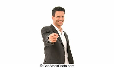 Business man pointing forward into the camera