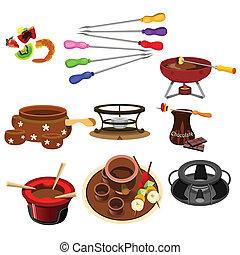 Fondue icons - A vector illustrator of fondue icon sets