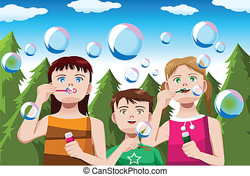Kids blowing bubbles - A vector illustration of happy kids...