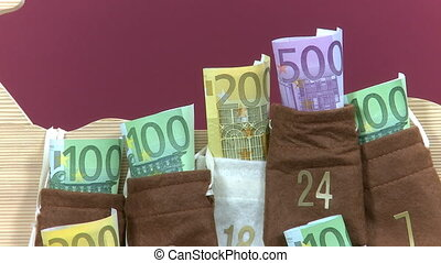 Euro bills in Advent Calendar - close up 500 Euro bill is...