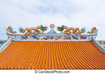 Statue of twin dragons on the roof