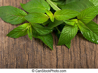 Fresh mint on the wooden texture