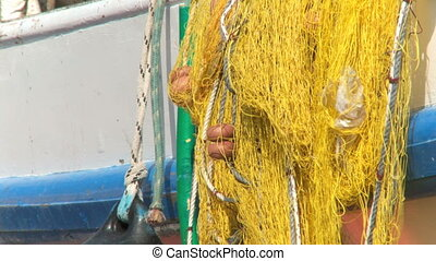 Fishing Net - Yellow fishing net in the wind