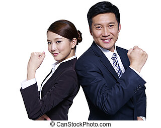 asian business people - asian businessman and businesswoman...
