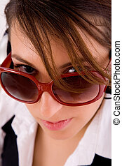 front view of businesswoman looking at camera