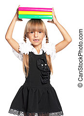 Little girl with books - Little girl in school uniform with...