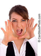 front view of shouting professional