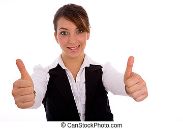 portrait of businesswoman with thumbs up on an isolated...