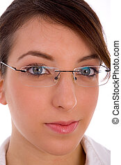 close view of female face with eyewear - close view of...