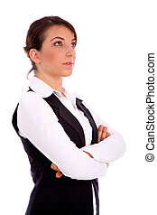 side view of businesswoman looking upward on an isolated...