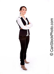 side pose of standing busineswoman - side pose of standing...