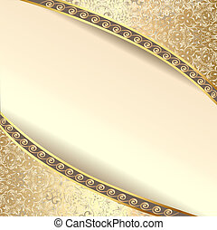 background frame with flowers of silk with gold glitter -...