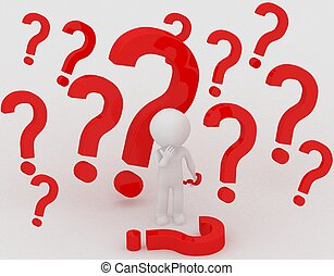3d person - question mark - 3d person standing under a...