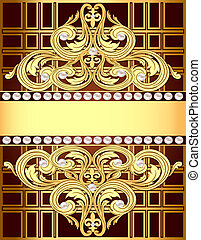 background with a strip of gold ornaments and pearls -...