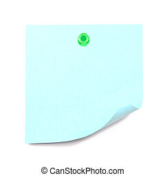 Blank blue sticky note pinned by the green pin isolated on...
