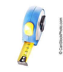 tape measure isolated on white background - Blue tape...