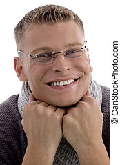 smiling handsome man with eyewear looking at camera -...