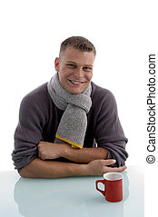 smiling handsome man with coffee mug