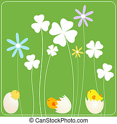 Easter background - easter background with chicken in eggs,...