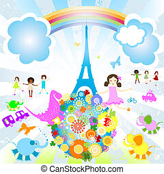 summer vacation in Paris - ids and animals of the world