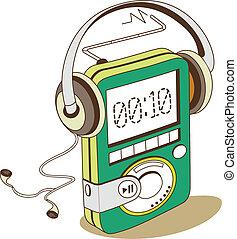 A cassette player
