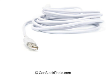 USB cable on white background - USB cable isolated on white...