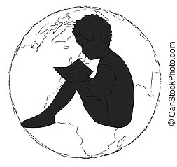 Learning,silhouette Boy reading book in the globe