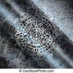 Mayan calendar on old stone - Background in American Indian...
