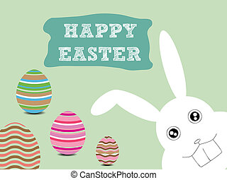 Happy Easter - Illustration of Happy Easter with Bunny and...