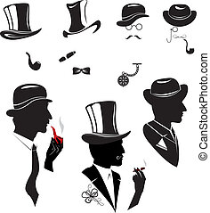 Men silhouettes smoking cigar and pipe in vintage style...