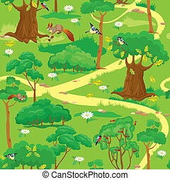 Green Forest Landscape - Seamless pattern - Green Forest...