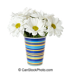 White flowers in a vase on a white background - Bouquet of...