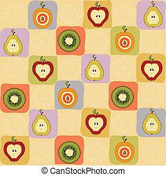 childish seamless pattern with fruits