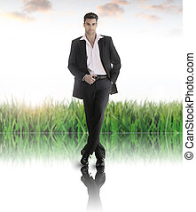 Business of the future - Conceptual business portrait of a...
