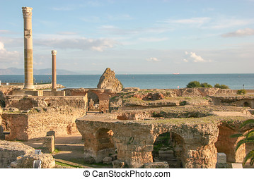 Ancient ruins at Carthage, Tunisia with the Mediterranean...