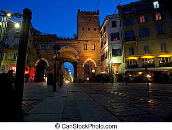 Porta Ticinese, Milan - View of Porta Ticinese at sunset in...