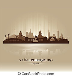 Saint Petersburg Russia city skyline silhouette. Vector...