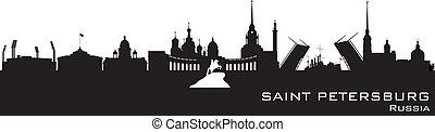 Saint Petersburg Russia city skyline Detailed silhouette...