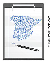 clipboard Spain map - Clipboard with Spain drawing map...