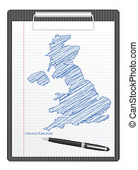 clipboard UK map - Clipboard with UK drawing map. Vector...