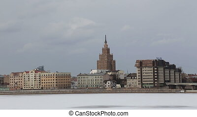 Riga city river winter